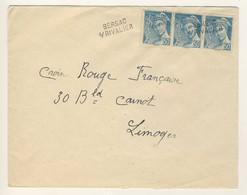 (C15) Y&T N°549 X3 - LETTRE GRIFFE LINEAIRE BERSAC SUR RIVALIER HAUTE VIENNE => CROIX ROUGE LIMOGES - MARQUE LINEAIRE - Marcophilie (Lettres)