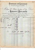 1910 FACTURE LEROY-ROLAND FABRIQUE DE LINGERIE à SAINT OMER PÄS DE CALAIS - France