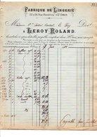 1910 FACTURE LEROY-ROLAND FABRIQUE DE LINGERIE à SAINT OMER PAS DE CALAIS - France