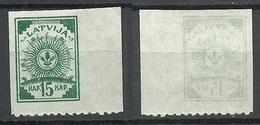 LETTLAND Latvia 1919 Michel 14 C/B (einseitig Gezähnt) MNH - Lettonie
