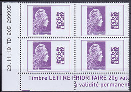 Coin Daté De 4 TP Neufs ** N° 5291(Yvert) France 2019 - Marianne L'Engagée International Datamatrix, TD 205, 23/11/18 - 2018-... Marianne L'Engagée