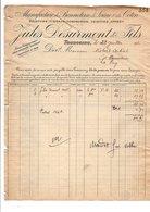 1910 FACTURE JULES DESURMONT & Cie BONNETERIE à TOURCOING NORD - France