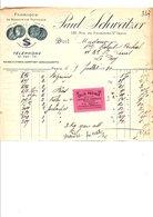 1910 FACTURE PAUL SCHWEITZER BONNETERIE RUE DU Fbg SAINT DENIS à PARIS - France