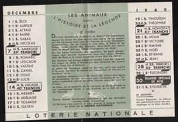 Publicités Loterie Nationale Decembre 1949 Légende Des Animaux Le Chien - Publicités