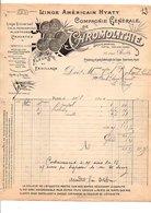 1910 FACTURE Cie CHROMOLITHIE LINGE AMERICAIN HYATT RUE BAILLY à PARIS - France