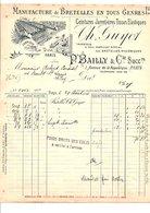 1910 FACTURE P. BAILLY & Cie BRETELLES AVENUE DE LA REPUBLIQUE à PARIS - France