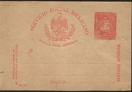 J) 1898 MEXICO, LETTER CARRIER, BROKEN TITLE, MEXICAN POSTAL SERVICE, EAGLE, PRINTED PAD, INTERIOR SERVICE, POSTAL STATI - Mexico