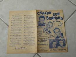 Chacun Son Bonheur -(Paroles Louis Hennevé)-(Musique Jay Livingston & Ray Evans) Partition - Liederbücher