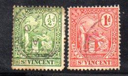 CI824 - SAINT VINCENT 1907,  Yvert N. 71 + 72 Usati (2380a) - St.Vincent (1979-...)