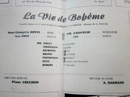 1947/48-LA VIE DE BOHEME -PROGRAMME OPÉRA De LYON-SPECTACLE-PHOTOD ARTISTES COMEDIENS-ACTEURS-DANSE -PUBLICITÉ - Programmes