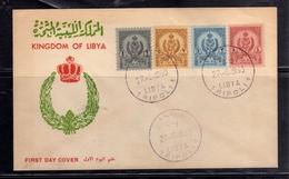 LIBYA LIBIA UNITED KINGDOM REGNO UNITO 1960 STEMMA COAT OF ARMS 1m 2m 3m 4m FDC - Libië