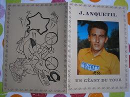 CYCLISME - Superbe Document En 2 Volets Sur ANQUETIL Pour Sa 5ème Victoire Sur Le Tour De France - RARE - 3 Photos - Cyclisme