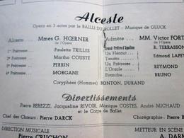 1947/48- ALCESTE -DIVERTISSEMENTSPROGRAMME OPÉRA De LYON-SPECTACLE-PHOTOS ARTISTES COMÉDIENS -ACTEURS-DANSE-PUBLICITÉ - Programmes