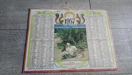 Calendrier 1957 Sarthe Almanach Des Postes Chasse Le Repos Bien Mérité Fusil - Calendriers