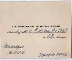 VP14.962 - Carton D'Invitation De Mme La Baronne J. GUILLAUME - Musique - Alte Papiere