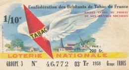 BL 169 / BILLET  LOTERIE NATIONALE     CONFEDERATION DES DEBITANTS DE TABAC DE FRANCE      1958 - Billets De Loterie