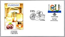 12 MESES - 12 SELLOS - OURENSE - Pulpo - Alquitara - Alambique - Octopus - Alembic. SPD/FDC Ourense, Galicia, 2019 - Alimentación