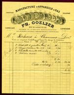 """PARIS  (1873) : """" APPAREILS à GAZ - PH. GOELZER  182 Rue Lafayette """"  Avec TP N° 60 - France"""