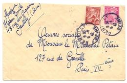 Lettre De Gentilly Seine Iris Mercure Pour Le Les Oeuvres Sociales Du Marechal Petain - Marcophilie (Lettres)