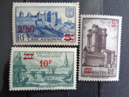 1941 - CERES N° 490, 491 & 492 ** - TIMBRES COMMEMORATIF SURCHARGES - France