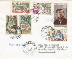 Cote D'Ivoire 1965 Abidjan President Kennedy Wood Ivory Carving Warthog Antilope Duiker Cover - Kennedy (John F.)