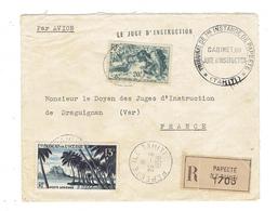 MARCOPHILIE - RECOMMANDEE PAR AVION TP N°120 + TP PA N°32 POUR LA FRANCE - TTB - CAD ILE TAHITI - PAPEETE - 26-8-1958 - Tahiti