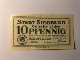 Allemagne Notgeld Siegburg 10 Pfennig - Collections