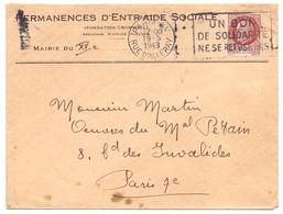 Lettre De Paris XV Petain Pour Les Oeuvres Sociales Du Maréchal Petain - Marcophilie (Lettres)