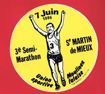 1 Autocollant 3e Marathon à SAINT MARTIN DE MIEUX 1986 Union Sportive Moulinex Falaise - Autocollants