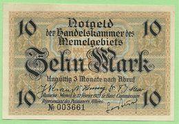 MEMEL / LITHUANIA / GERMANY 10 Mark 1922 PICK#5, Ros.#850 UNC BANKNOTE - Eerste Wereldoorlog