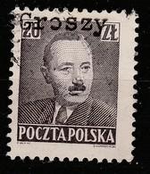 POLAND 1950 BOLESLAW BIERUT GROSZY OVPT Type 35 RZESZOW BLACK USED STAMP, RARE! - 1944-.... Republic