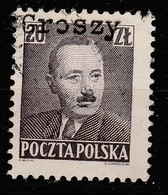POLAND 1950 BOLESLAW BIERUT GROSZY OVPT Type 35 RZESZOW BLACK USED STAMP, RARE! - 1944-.... République