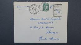 Lettre Recommandé Provisoire De Bonneville Haute Savoie Cachet De Fortune Modifié 25 Mai 1944 - Marcophilie (Lettres)