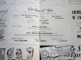 1947/48-LE ROI D'YS-DANSE BRETONNE PROGRAMME OPÉRA De LYON-SPECTACLE-PHOTOS ARTISTES COMÉDIENS -ACTEURS-DANSE-PUBLICITÉ - Programmes