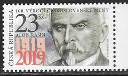 CZECH REPUBLIC, 2019, MNH,  CZECHOSCLOVAK CURRENCY, ALOIS RASIN, ECONOMISTS, 1v - Stamps
