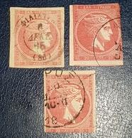 Greece 1886  3 Grand Hermès Différences De Couleurs - 1861-86 Grands Hermes