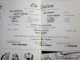 1947/48-LA JUIVE-VALSE BUVEURS-BALL PROGRAMME OPÉRA De LYON-SPECTACLE-PHOTOS ARTISTES COMÉDIENS -ACTEURS-DANSE-PUBLICITÉ - Programmes