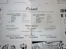 1947/48-Lakmé-  GRAND BALLET -- PROGRAMME OPÉRA De LYON-SPECTACLE-PHOTOS ARTISTE COMÉDIENS -ACTEURS-DANSE-PUBLICITÉ - Programmes