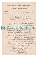 Souvigny, 03, Lettre De Me Charles Fauconnet, Huissier, à R. Jusseaume, 1908. - France
