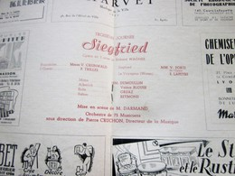 1947/48- SIEGFRIED -DIVERTISSEMENTS- PROGRAMME OPÉRA De LYON-SPECTACLE-PHOTOS ARTISTE COMÉDIENS -ACTEURS-DANSE-PUBLICITÉ - Programmes