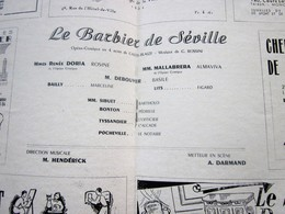 1947/48- LE BARBIER DE SEVILLE  - PROGRAMME OPÉRA De LYON-SPECTACLE-PHOTOS ARTISTE COMÉDIENS -ACTEURS-DANSE-PUBLICITÉ - Programmes