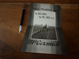Plaquette Publiciaire TRACTEURS Mc CORMICK - France