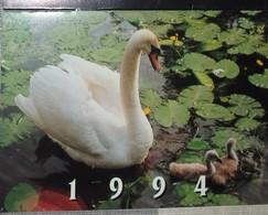 Petit Calendrier De Poche 1994 Bijou Bijoutier GL Plaqué Or Argent Cygne - 4 Volets - Calendars