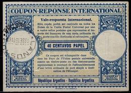 ARGENTINALo1540 CENTAVOS PAPEL International Reply Coupon Reponse Respuesta Antwortschein IRC IAS O LANUS 13.9.50 - Interi Postali