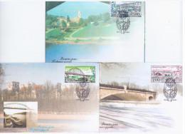 Belarus 2002 FDC X3 Bridges Of Belarus, River Svisloch In Minsk, River Sozh In Gomel, River Zapadnaja Dvina In Vitebsk - Belarus