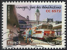 France 2014 Oblitéré Used Trains Limoges Gare Des Bénédictins CC 6572 Y&T 1009 - Usati