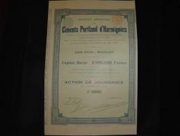 """Action""""Ciments Portland D'Harmignies"""" Bruxelles 1899 Très Bon état,avec Tous Les Coupons - Industrie"""