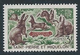 Saint PIERRE Et MIQUELON - 1964 - Y.T. N°372 - 3 F. Lapins - Animaux - Neuf** MNH - TTB - St.Pedro Y Miquelon
