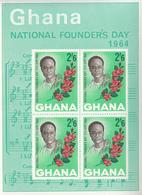 1964 Ghana Founders Day Music Flowers  Souvenir Sheet Complete  MNH - Ghana (1957-...)