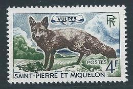 Saint PIERRE Et MIQUELON - 1964 - Y.T. N°373 - 4 F. Renard Argenté - Animaux - Neuf** MNH - TTB - St.Pedro Y Miquelon